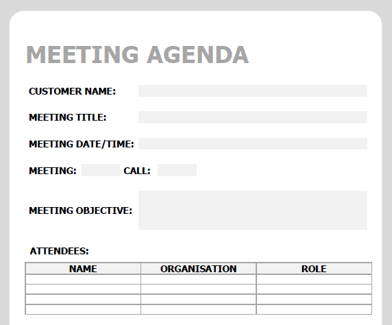 Meeting Agenda Template - Example 1