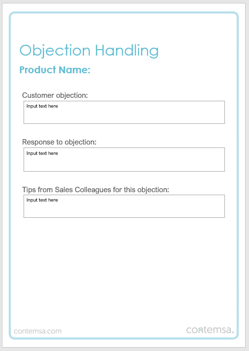 Customer Sales Objection Template 1