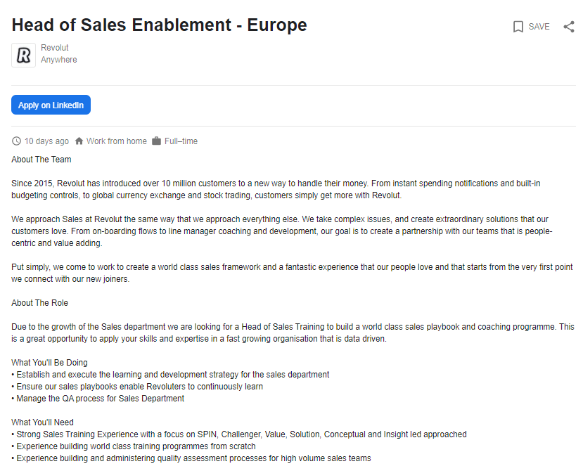 Head of Sales Enablement Job Role