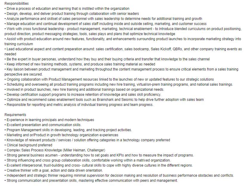 Sales Enablement Job Description